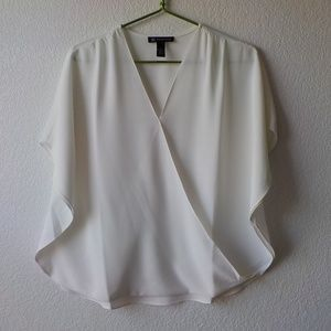 INC Blouse Small Ivory Loose V-Neck Career